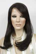 Darkest Brown Brunette Long Premium Remy Human Hair Lace Front Straight Wigs - $620.72