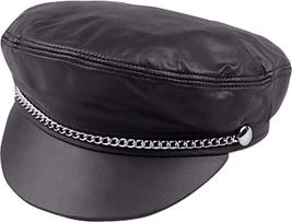 Henschel Garment Leather Brando Biker Cap Chain Sweatband Made In USA Black - $67.00