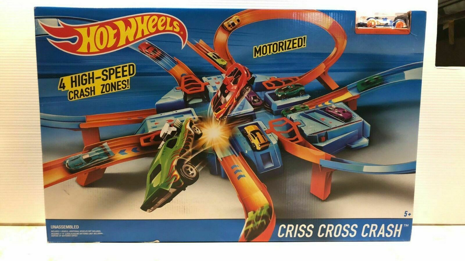 Primary image for Hot Wheels Criss Cross Crash Track Set with Intersections Turns Boosters Racing