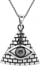 All Seeing Eye Of Providence .925 Sterling Silver Necklace - $121.27