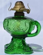 2903 Antique Green Bulls Eye Finger Stem Lamp - $125.00
