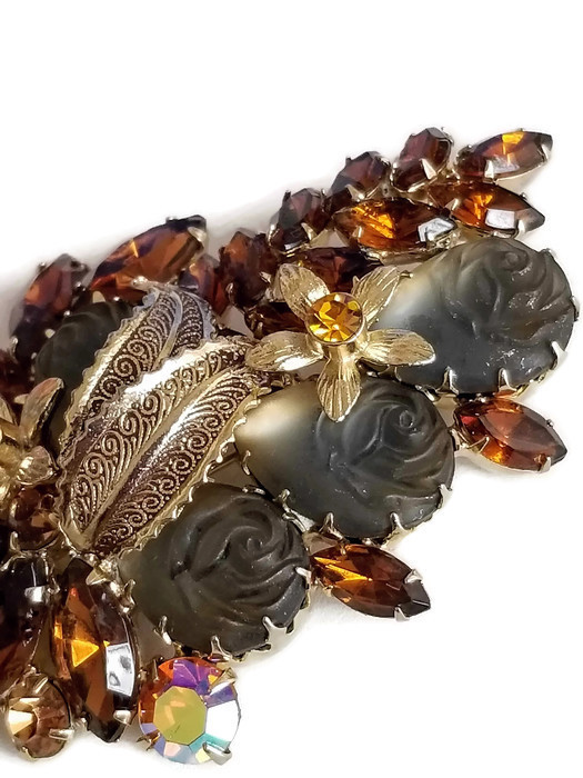Vintage Molded Glass Rose and Topaz Rhinestone Brooch, Vintage Floral Pin image 7