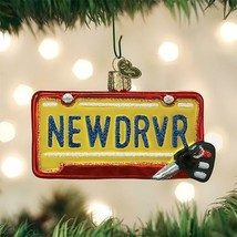 OLD WORLD CHRISTMAS NEW DRIVER LICENSE PLATE GLASS CHRISTMAS ORNAMENT 36260 - $16.88