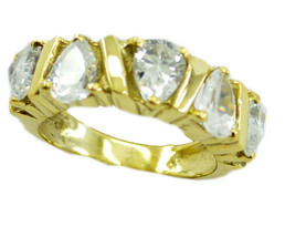 handsome White CZ Gold Plated White Ring Natural wholesale US gift - $22.99