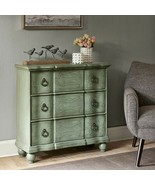 Hand Painted Blue Green Scroll Bun Foot Chest w/ 3 Drawers & Hand Cast H... - $548.00