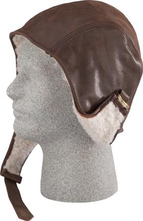 Henschel Garment Leather Aviator Cap Fleece Lined Buckle Made In USA Black Brown