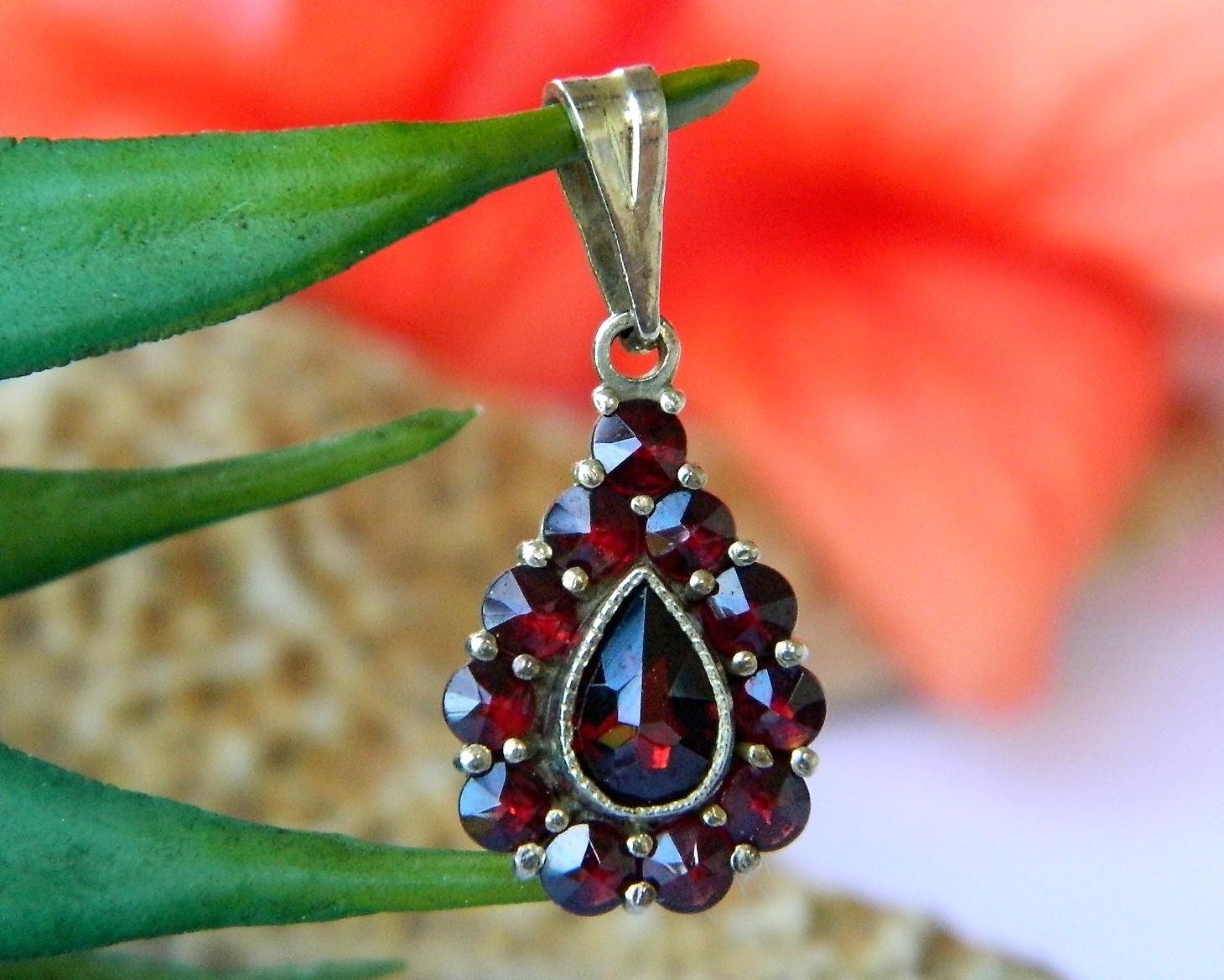 Vintage bohemian czech red garnet teardrop miniature pendant charm