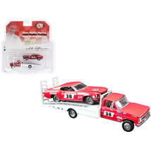 Ford F-350 Ramp Truck #38 Red and White with 1969 Ford Mustang Trans Am ... - $36.79