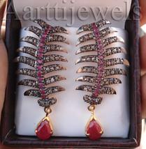 Victorian 1.80ct Rose Cut Diamond Ruby Wedding Women's Earrings FINE EDH - $822.01
