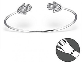 Atik Jewelry Silver Hamsa Bangle Bracelet With Cubic Zirconia - $169.71