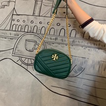 TORY BURCH Kira Chevron Small Camera Crosbody Shoulder Bag Green Authentic - $278.00