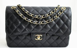 CHANEL JUMBO Black CAVIAR Classic Double Flap Bag GH AUTHENTICITY VERIFIED! - $6,606.48 CAD