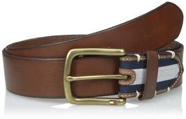 Tommy Hilfiger Men's 38 mm Veg Leather Belt with Stripe Fabric End Detail, 44 - $31.68