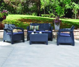 Outdoor Patio Set Garden Yard Lounge Rattan Wicker Furniture Seat Cushio... - $599.99