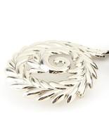 "Monet Signed Swirl Brooch Silver Tone Bright Finish 3"" Costume Jewelry  - $14.93"