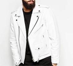 New Men Genuine Lambskin Leather Jacket Slim fit Biker Motorcycle jacket... - $109.99