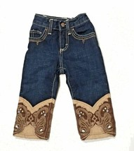 Wrangler Baby Cowboy Blue Jeans 12 months Embroidery Dark Denim Adjustab... - $24.55