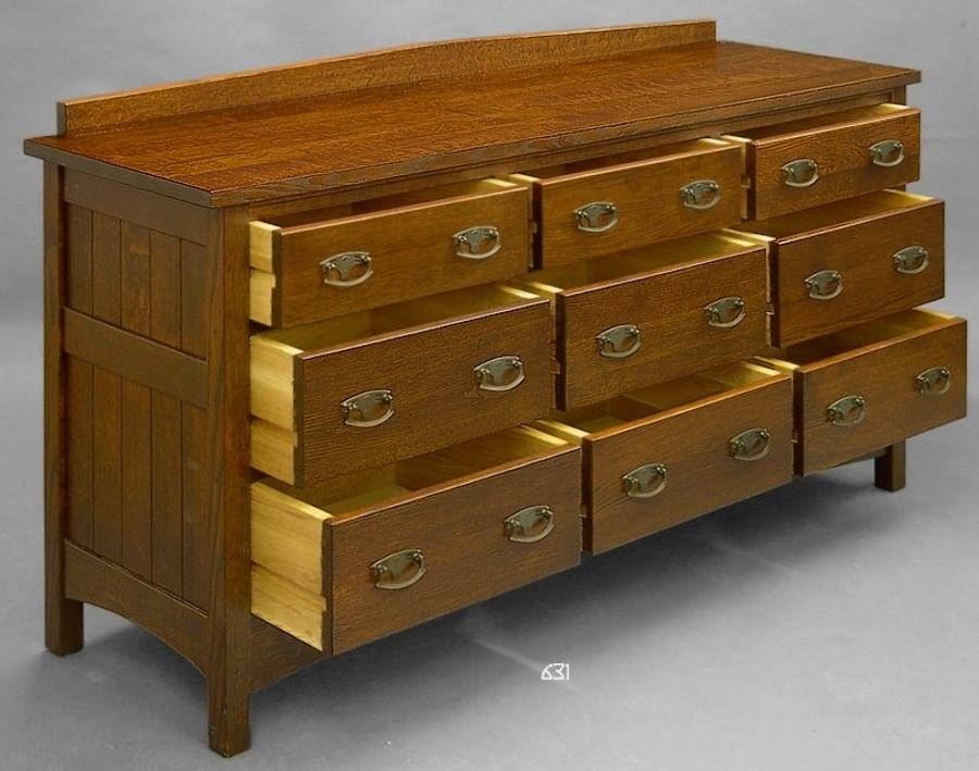 Mission, 9 Drawer Bureau, Quartersawn Oak.