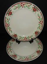 2 Majesticware Sakura Poinsettia Delight Christmas Holiday Dinner Plates... - $32.66