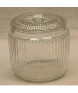 Anchor Hocking Clear Glass Depression Humidor Covered Cookie Jar Ribbed ... - $49.49