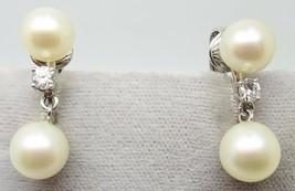 14k Gold Pearl Earrings with .26ct Diamonds (#J3439) - $525.00