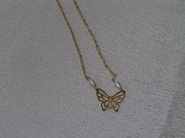 Vintage Long Lacey Goldtone Chain with Openwork Butterfly & Faux Teardrop Pearl - $10.39