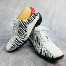FootJoy LoPro Collection Women Sz 7.5 M Golf Shoes Leather Zebra Print 104-12 - $35.17