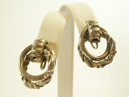 LISNER Double LOOP Twist Silver Plate Screw Back Earrings Vintage Estate... - $15.83