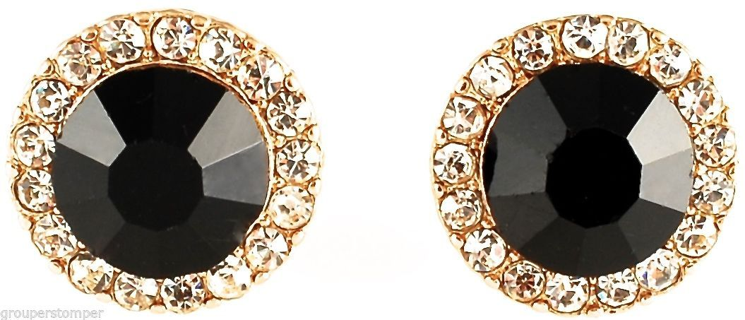 Primary image for Post Earrings New Black Onyx 10 mm Simulated Stone With Crystal Rhinestones