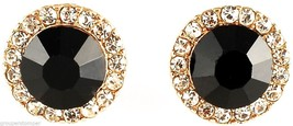 Post Earrings New Black Onyx 10 mm Simulated Stone With Crystal Rhinestones - $13.89