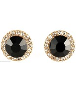 Post Earrings New Black Onyx 10 mm Simulated Stone With Crystal Rhinestones - $15.20