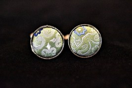 VTG Round Green Embroidered Fabric Cufflinks Formal Suit Shirt Accessories - $13.99