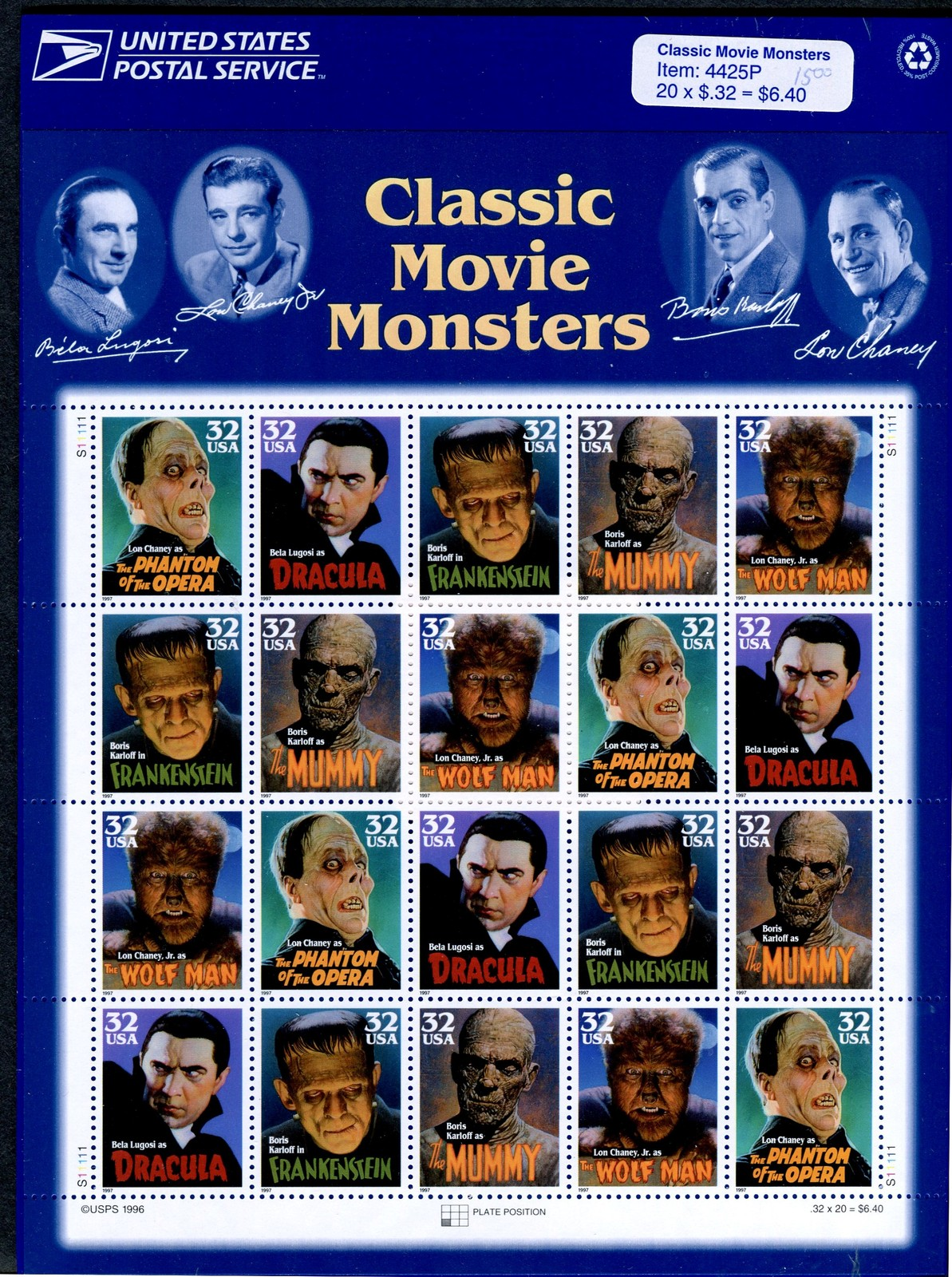 2 sheets of 20 #3168 Classic Movie Monsters 32 cent stamp 1997 – USPS Sealed