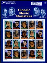 1 Sheet of 20 #3168 Classic Movie Monsters 32 cent stamp 1997 – USPS Sealed - $8.00
