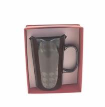 Starbucks Shiny Black Houndstooth Ceramic Mermaid Mug Tall Cup Handle 16oz DOT - $41.57