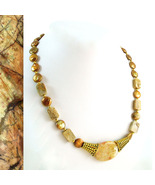 Fossilized Coral and Freshwater Pearl Coins Necklace - $50.00