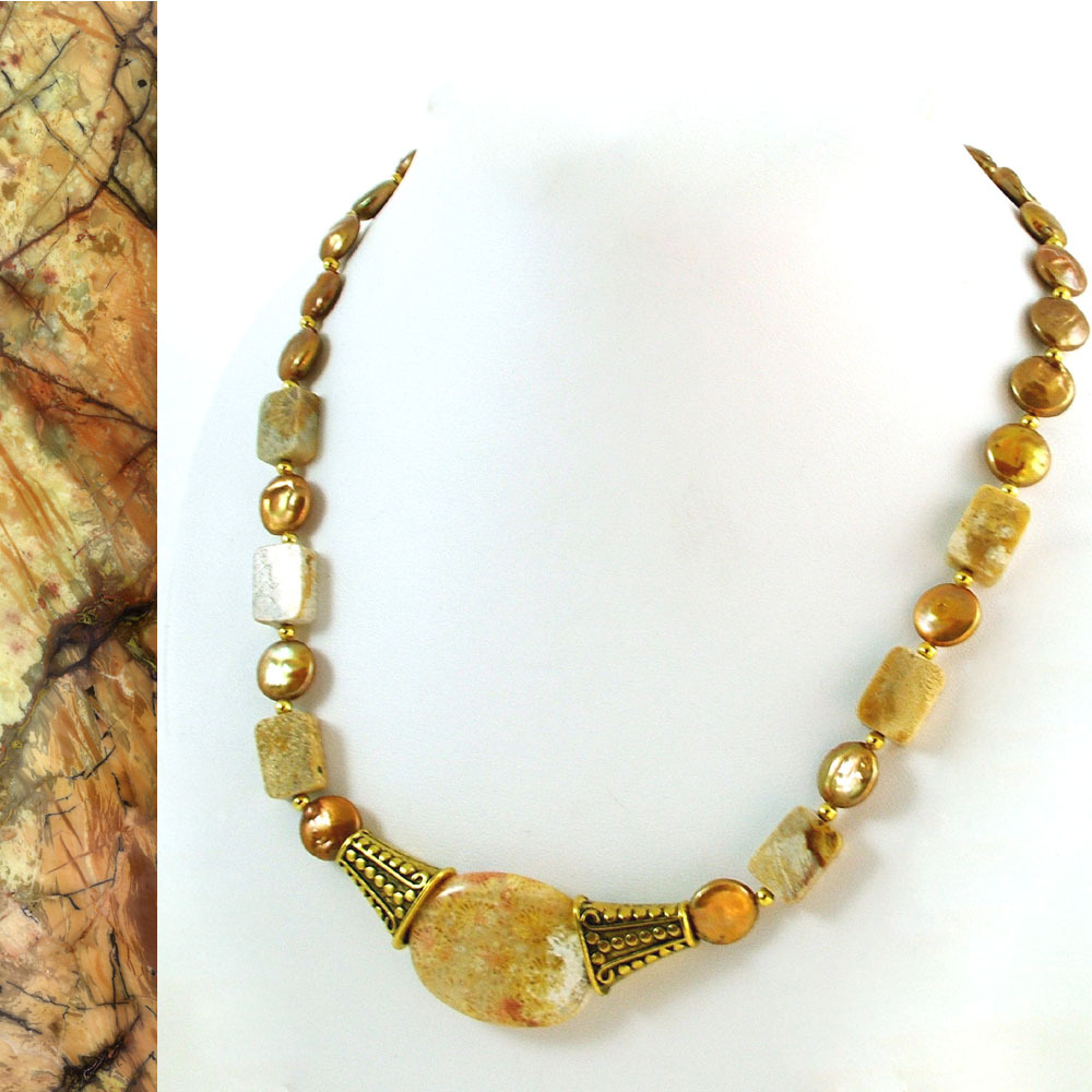 Fossilized Coral and Freshwater Pearl Coins Necklace