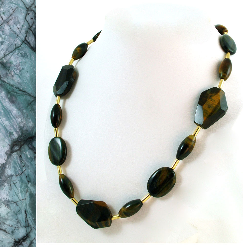Blue Tiger Eye and Gold Necklace