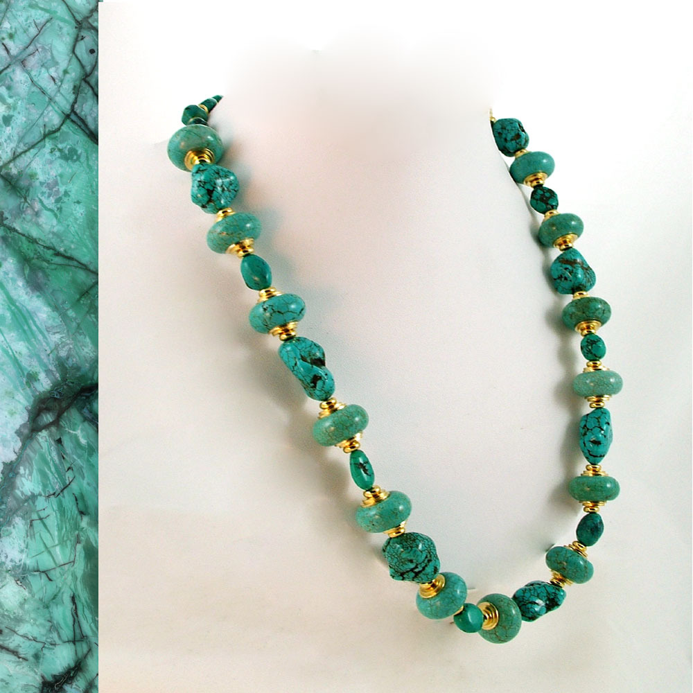 Chunky Turquoise and Gold Necklace