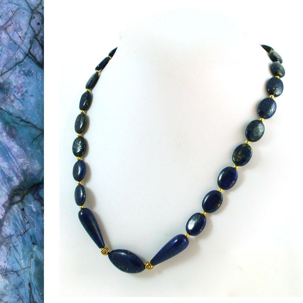 Lapis Lazuli and Vermeil Beaded Necklace
