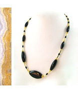 Elegant Natural Onyx and Gold Necklace - $35.00