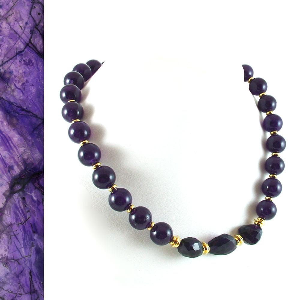 Deep Purple Jade and Amethyst Necklace