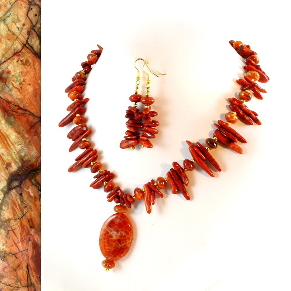 Hot Salsa Branch Coral and Agate Necklace