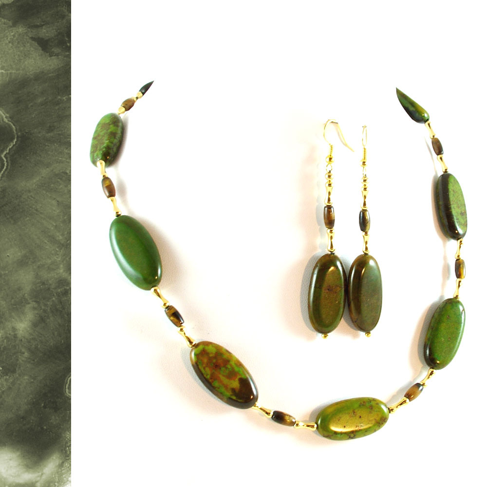 Earthy Green Turquoise and Tiger Eye Necklace