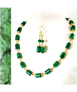 Marbled Malachite and Gold Glints Necklace and Earrings - $70.00