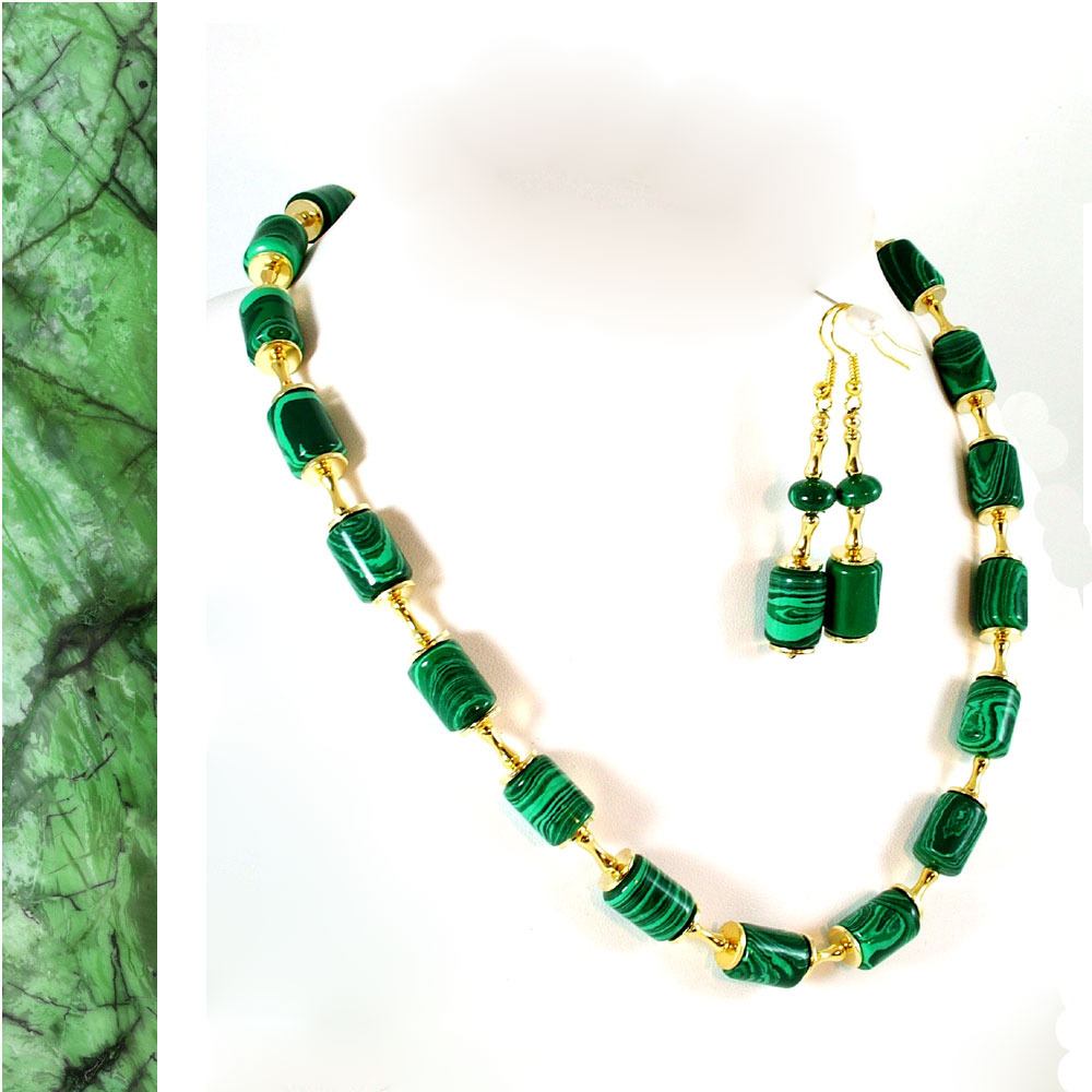 Marbled Malachite and Gold Glints Necklace and Earrings