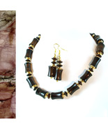 Moody Onyx Bamboo Necklace and Earrings - $75.00