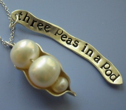 Three Peas in a Pod Charm Necklace