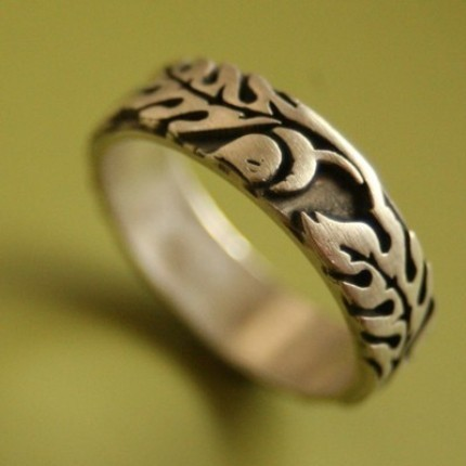 Wide Silver Oak Ring