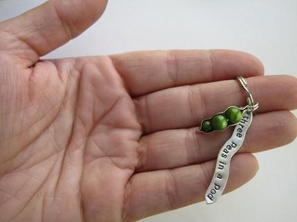 Three Peas in a Pod Keychain